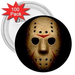 Jason Hockey Goalie Mask 3  Buttons (100 Pack)