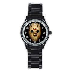 Jason Hockey Goalie Mask Stainless Steel Round Watch