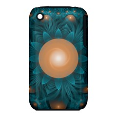 Beautiful Orange Teal Fractal Lotus Lily Pad Pond Iphone 3s/3gs