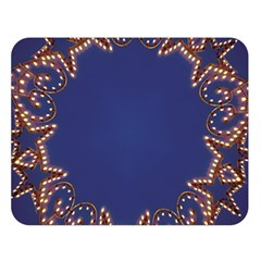 Blue Gold Look Stars Christmas Wreath Double Sided Flano Blanket (large)