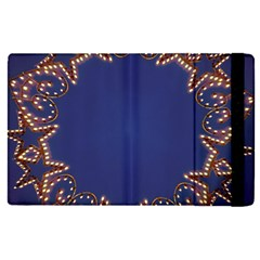 Blue Gold Look Stars Christmas Wreath Apple Ipad Pro 9 7   Flip Case