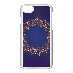 Blue Gold Look Stars Christmas Wreath Apple Iphone 7 Seamless Case (white)
