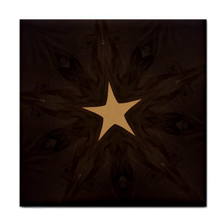 Rustic Elegant Brown Christmas Star Design Face Towel