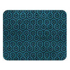 Hexagon1 Black Marble & Teal Leather Double Sided Flano Blanket (large)