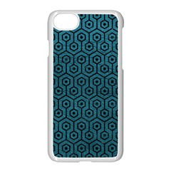 Hexagon1 Black Marble & Teal Leather Apple Iphone 8 Seamless Case (white)