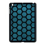 HEXAGON2 BLACK MARBLE & TEAL LEATHER Apple iPad Mini Case (Black) Front