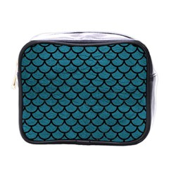 Scales1 Black Marble & Teal Leather Mini Toiletries Bags