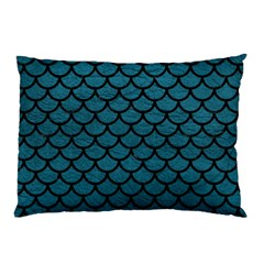 Scales1 Black Marble & Teal Leather Pillow Case (two Sides)