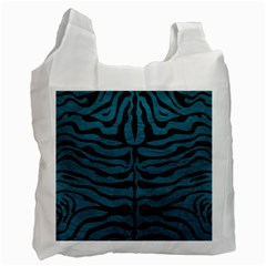 Skin2 Black Marble & Teal Leather Recycle Bag (two Side)