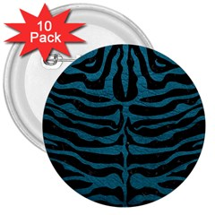Skin2 Black Marble & Teal Leather (r) 3  Buttons (10 Pack)
