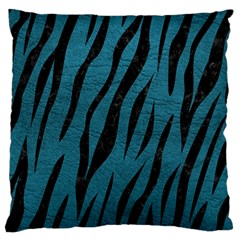Skin3 Black Marble & Teal Leather Large Flano Cushion Case (two Sides)
