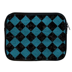 Square2 Black Marble & Teal Leather Apple Ipad 2/3/4 Zipper Cases