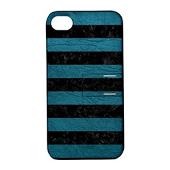 Stripes2 Black Marble & Teal Leather Apple Iphone 4/4s Hardshell Case With Stand