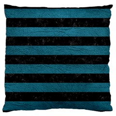 Stripes2 Black Marble & Teal Leather Standard Flano Cushion Case (one Side)