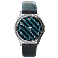 Stripes3 Black Marble & Teal Leather Round Metal Watch