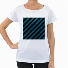 Stripes3 Black Marble & Teal Leather (r) Women s Loose Fit T Shirt (white)
