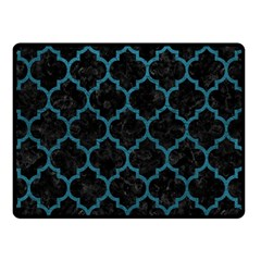 Tile1 Black Marble & Teal Leather (r) Double Sided Fleece Blanket (small)