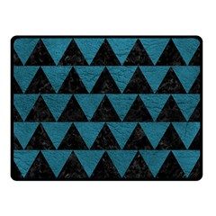 Triangle2 Black Marble & Teal Leather Double Sided Fleece Blanket (small)