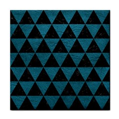 Triangle3 Black Marble & Teal Leather Face Towel