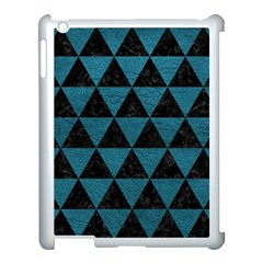 Triangle3 Black Marble & Teal Leather Apple Ipad 3/4 Case (white)
