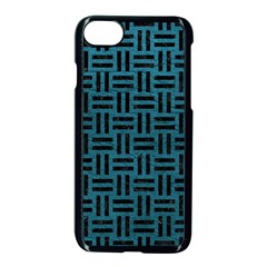 Woven1 Black Marble & Teal Leather Apple Iphone 7 Seamless Case (black)