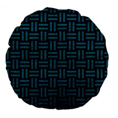 Woven1 Black Marble & Teal Leather (r) Large 18  Premium Round Cushions