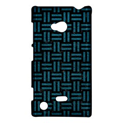 Woven1 Black Marble & Teal Leather (r) Nokia Lumia 720