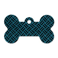 Woven2 Black Marble & Teal Leather Dog Tag Bone (one Side)