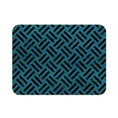 Woven2 Black Marble & Teal Leather Double Sided Flano Blanket (mini)