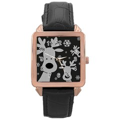 Cute Reindeer  Rose Gold Leather Watch