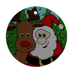 Santa And Rudolph Selfie  Round Ornament (two Sides)