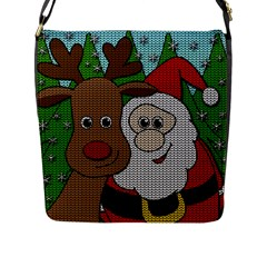 Santa And Rudolph Selfie  Flap Messenger Bag (l)