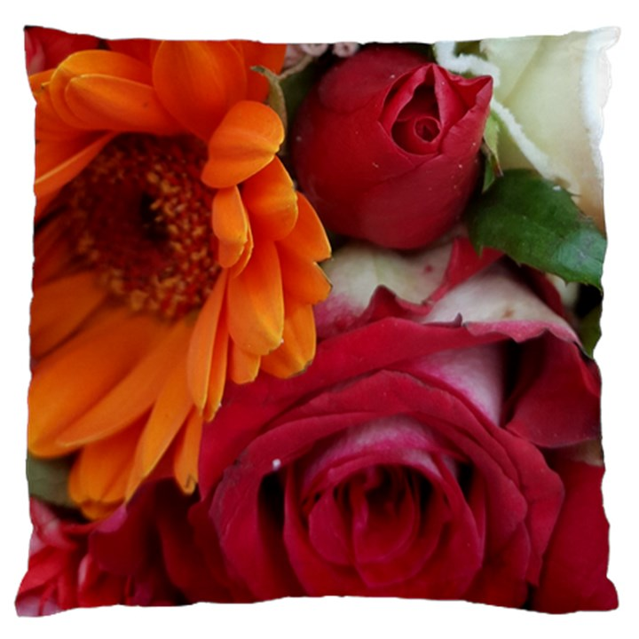 Floral Photography Orange Red Rose Daisy Elegant Flowers Bouquet Large Cushion Case (Two Sides)