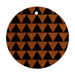Triangle2 Black Marble & Teal Leather Round Ornament (two Sides)