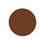 WOVEN2 BLACK MARBLE & TEAL LEATHER Magnet 3  (Round) Front