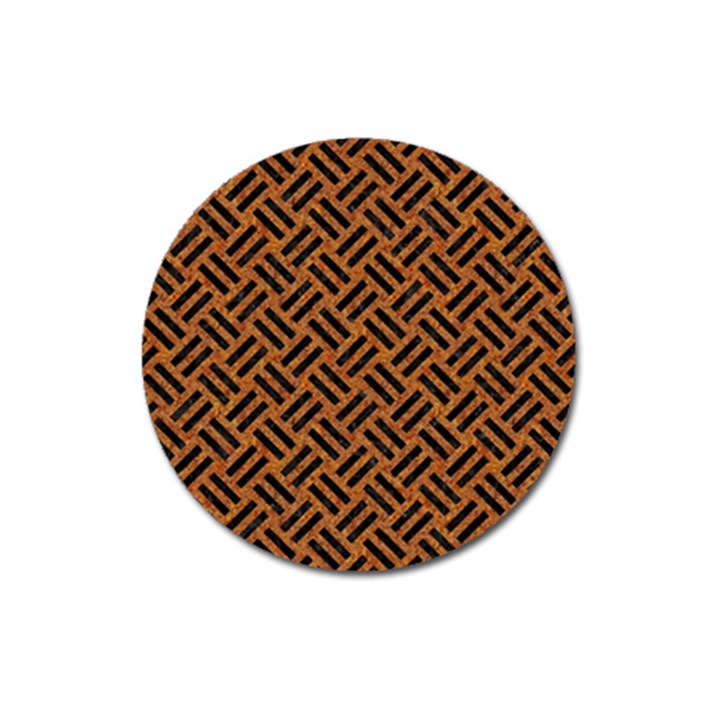WOVEN2 BLACK MARBLE & TEAL LEATHER Magnet 3  (Round)