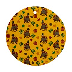 Thanksgiving Turkey  Round Ornament (two Sides)
