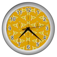 Fishes Talking About Love And   Yellow Stuff Wall Clocks (silver)