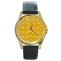 Fishes Talking About Love And   Yellow Stuff Round Gold Metal Watch