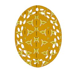 Fishes Talking About Love And   Yellow Stuff Ornament (oval Filigree)