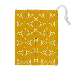Fishes Talking About Love And   Yellow Stuff Drawstring Pouches (extra Large)