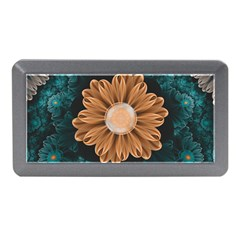 Beautiful Paradise Chrysanthemum Of Orange And Aqua Memory Card Reader (mini)