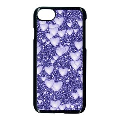 Hearts On Sparkling Glitter Print, Blue Apple Iphone 8 Seamless Case (black)