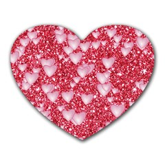 Hearts On Sparkling Glitter Print, Red Heart Mousepads