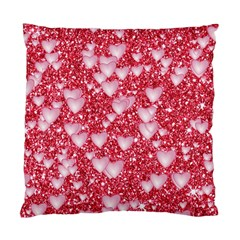 Hearts On Sparkling Glitter Print, Red Standard Cushion Case (two Sides)