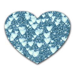 Hearts On Sparkling Glitter Print, Teal Heart Mousepads