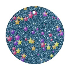 Stars On Sparkling Glitter Print, Blue Round Ornament (two Sides)