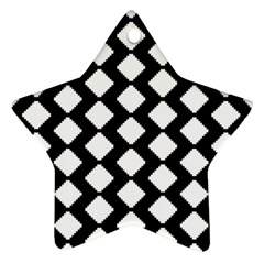Abstract Tile Pattern Black White Triangle Plaid Ornament (star)