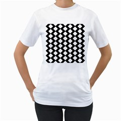 Abstract Tile Pattern Black White Triangle Plaid Women s T Shirt (white) (two Sided)