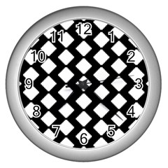 Abstract Tile Pattern Black White Triangle Plaid Wall Clocks (silver)